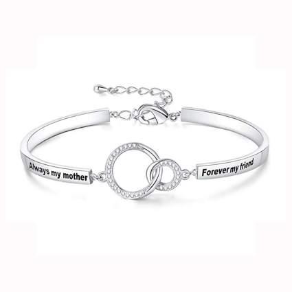 engraved silver tone bangle bracelet