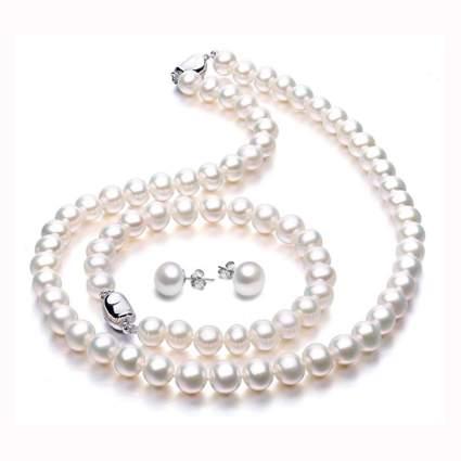 white freshwater pearl jewelry set