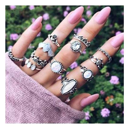 silver plated midi ring set