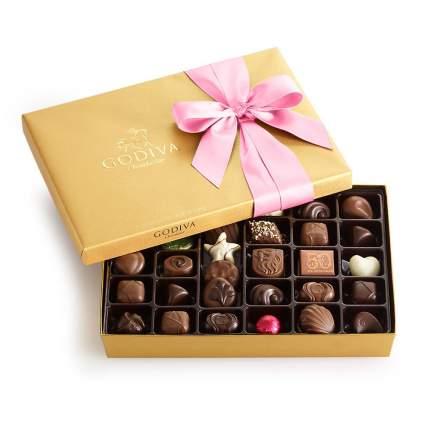 gold box of godiva chocolates