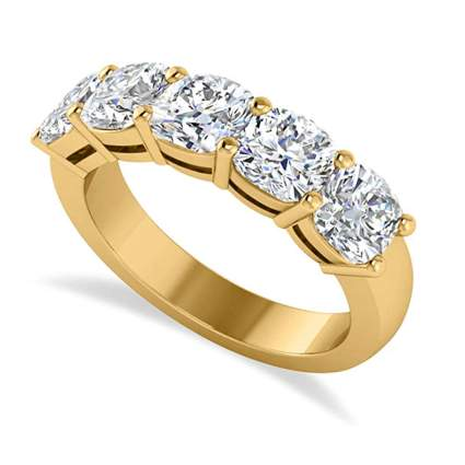 yellow gold cushion cut five diamond eternity ring