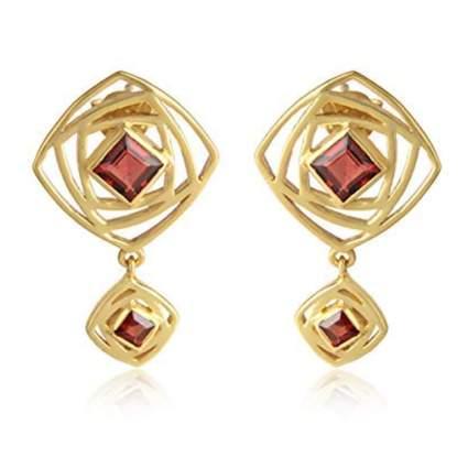 gold plated garnet dangle earrings