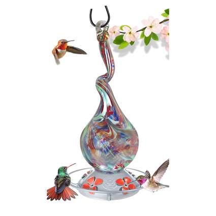 Blown glass hummingbird feeder