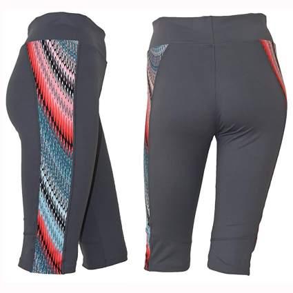 gray print knee length swim leggings