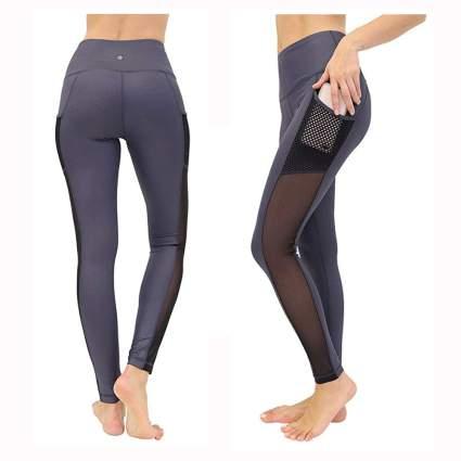 gray with sheer panel swim leggings