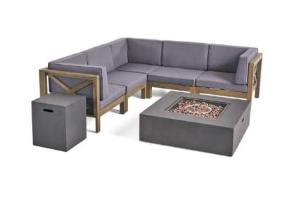 Great Deal Furniture Kaylee Outdoor Sectional Sofa Set with Fire Pit