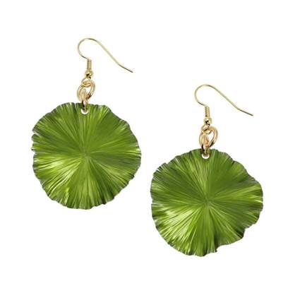 green anodized aluminum lily pad earrings