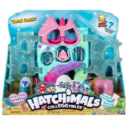 Hatchimals CollEGGtibles, Coral Castle Fold Open Playset with Exclusive Mermal Magic