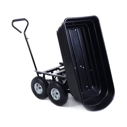 black garden dumper cart