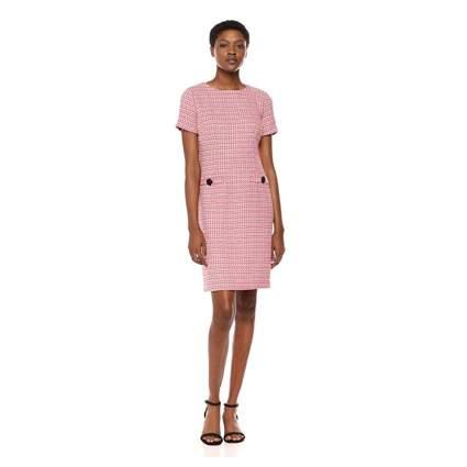pink tweed shift dress