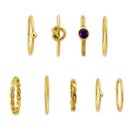 yelloow gold plated midi ring set