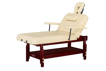 Cream spa table with wooden base