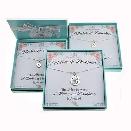 sterling silver dandelion necklace set