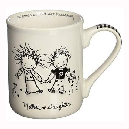 white ceramic mother daughter coffee mug
