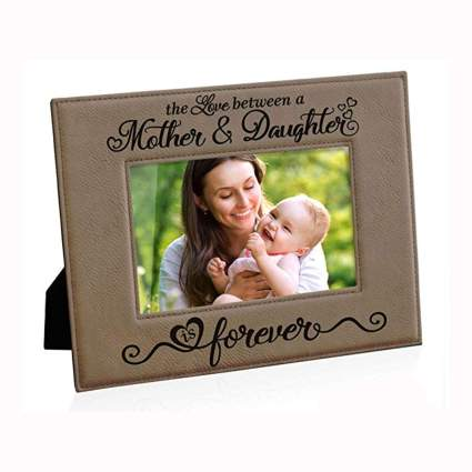 brown engraved leather picture frame