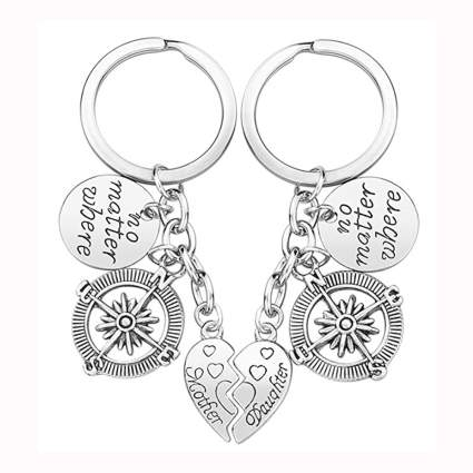 mother daughter silvertone compass keychain set
