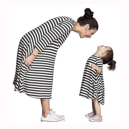 mother daughter matching striped dresses