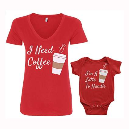 red mother daughter tee shirt and onesie