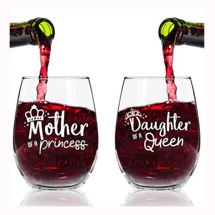 Mother daughter etched stemless wine glasses