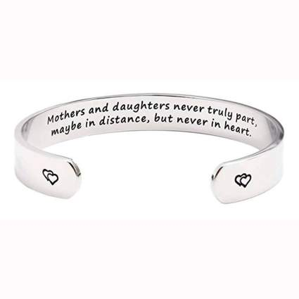 silver tone mothers and daughters bangle bracelet