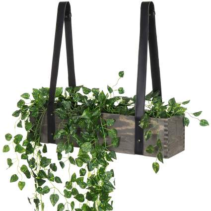 MyGift 24-Inch Gray Washed Wood Hanging Planter with Black Leatherette Straps