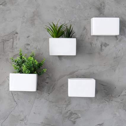MyGift Modern White Ceramic Wall Hanging Succulent & Herb Planter Box