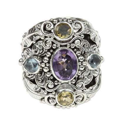 sterling silver multi gem cocktail ring