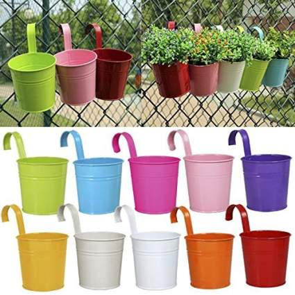Ogima 10 Piece Metal Iron Hanging Flower Pots