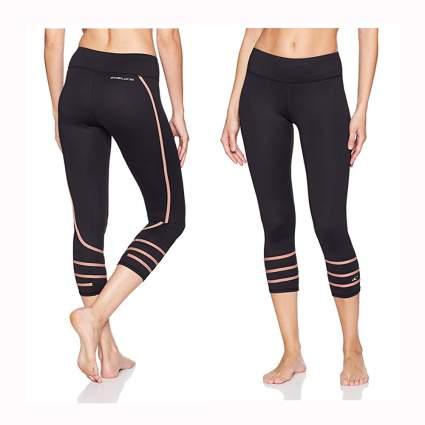 black and pink capri swim leggings