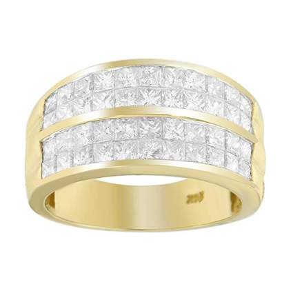 yellow gold princess cut diamond cluster ring