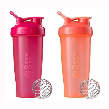 pink and coral blender bottles