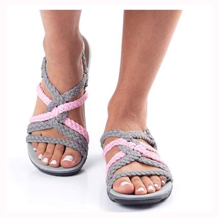 pink and gray women's hiking sandals