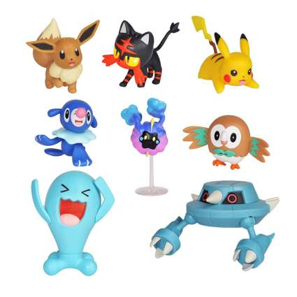Pokemon Action Figure Mega Battle Pack - Comes with Rowlet, Popplio, Litten, Eevee, Pikachu, Cosmog, Metang, and Wobbuffet