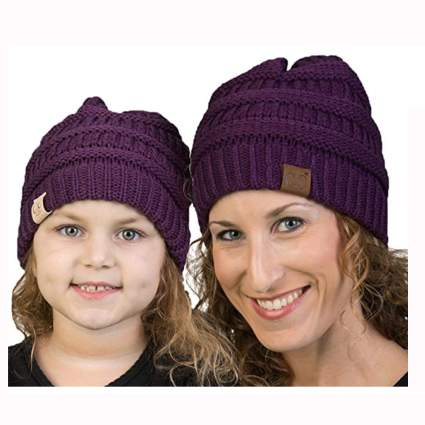 purple knit mother daughter beanie hats