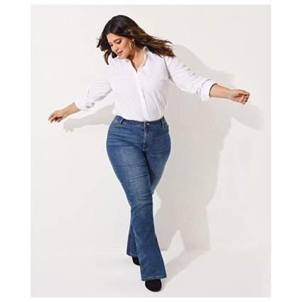 dark wash plus size bootcut jeans