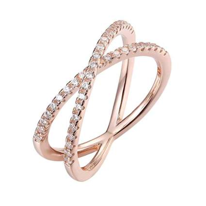 rose gold plated crisscross ring