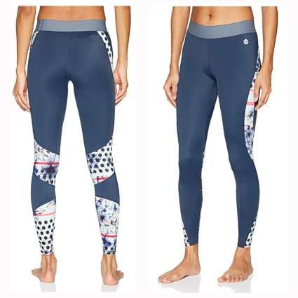 blue and print panel swim leggings