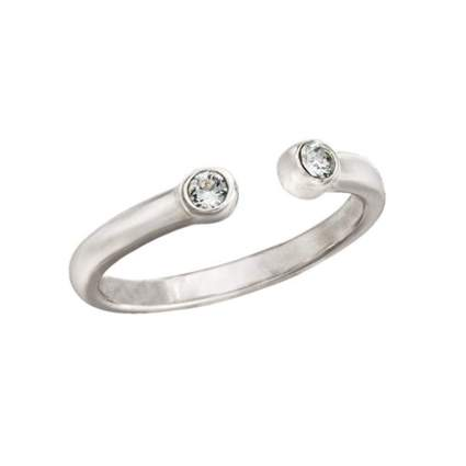 sterling silver midi ring with swarovski crystals