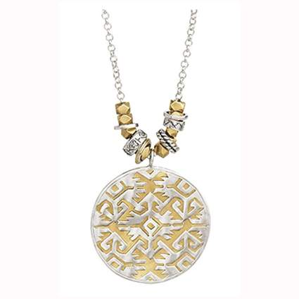 silver filigree and brass sundial necklace