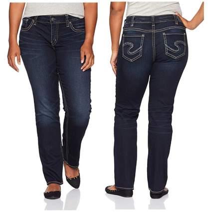 indigo curvy fit straight leg jeans