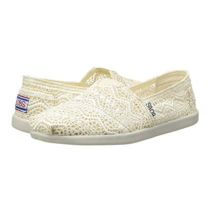 white crocheted flat shoes
