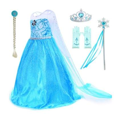 Snow Queen Princess Elsa Costumes Birthday Dress Up for Little Girls with Crown,Mace,Gloves Accessories 3-12 Years