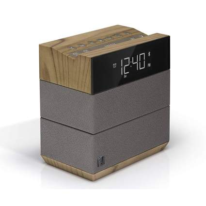 taupe and wood alarm clock