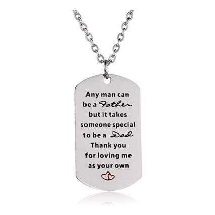 stainless steel step father dog tag necklace