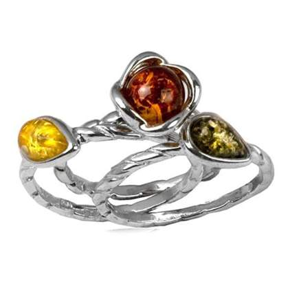 sterling silver and amber stacking rings