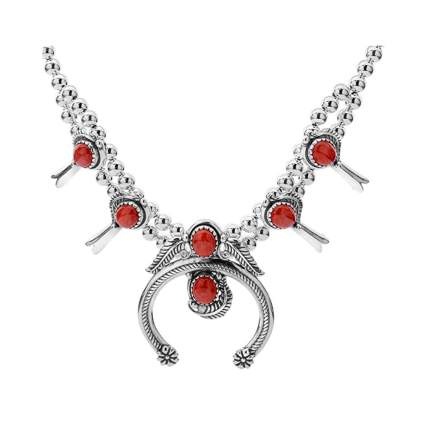 sterling silver and red coral squash blossom necklace