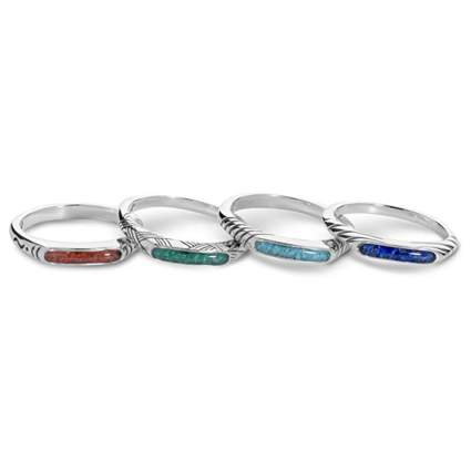 sterling silver gemstone chip inlay midi rings