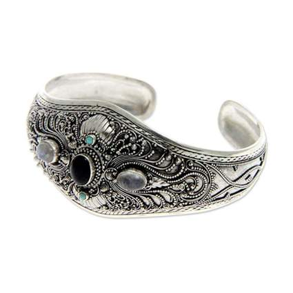 sterling silver onyx and moonstone cuff bracelet