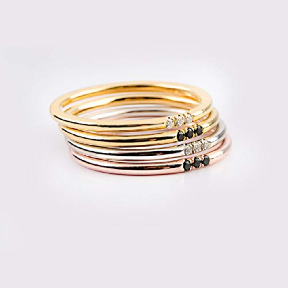 Stacking Rings Multiple Rings Copper Stacking Rings Gold Thin Rings Bands Silver Knuckle Rings Texturized Rings Midi Ring
