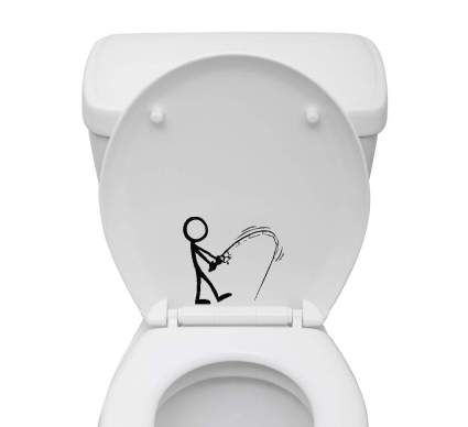 Bathroom Toilet Sticker Decal - Stick Figure Fishing